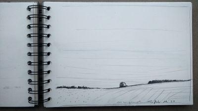 Bleistift Zeichnung, Papier, Landschaft, Am südlichen Rand, Bäume und wiesen
