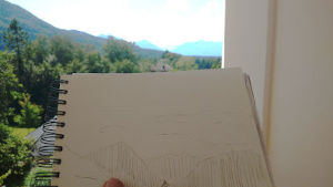 Balkon, Park Villa, Blick Karwendelgebirge