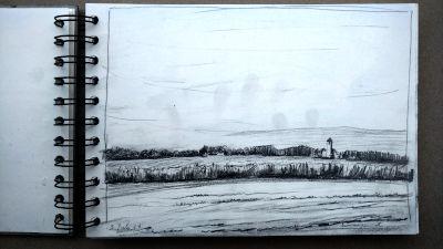 Bleistift Zeichnung, Papier, Landschaft, Bauernhof am Westerholz