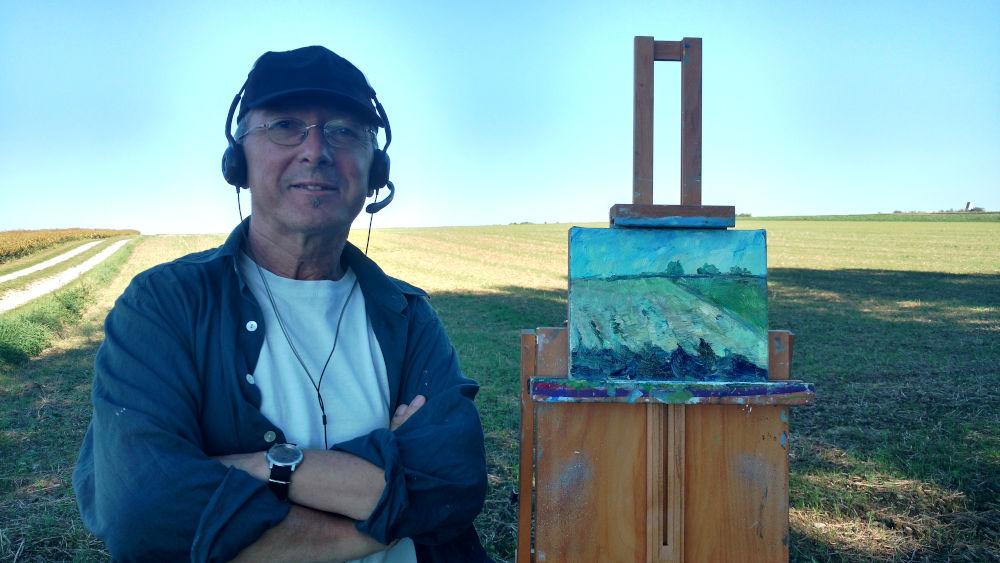 Pportrait Gerhard Marquard beim Pleinairmalen, Kaufering beim Westerholz