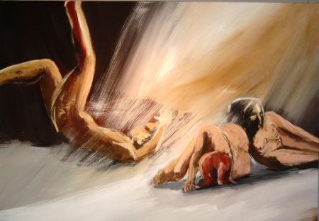 Acrybild, die Kinder des Ikarus, Acrylfarbe auf Leinwand