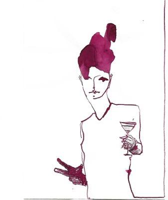 Frau mit rotem Haar und cocktail in der Hand sieht beobachtend zum Betrachter