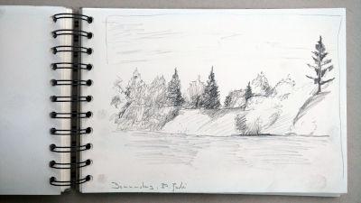 Monats-Challenge, Bleistiftzeichnung, Landschaft, Waldrand am Moorsee