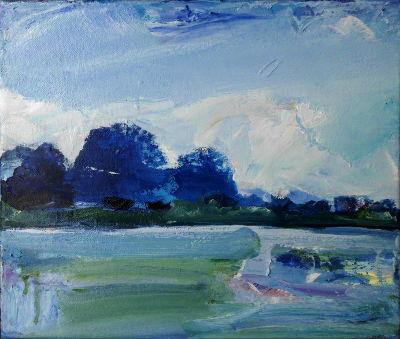 Blauer Morgen, Ölbild, bei Benediktbeuern