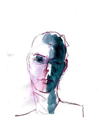 Zeichnung, Portrait, Tinte, Frau-in sich gekehrt