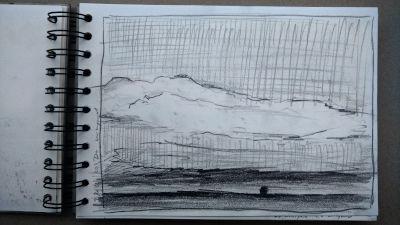Bleistift Zeichnung, Papier, Landschaft, Wiesen und ein Baum