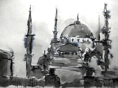 Hagia Sofia, Türkei, Tinte laviert, Reiseskizze