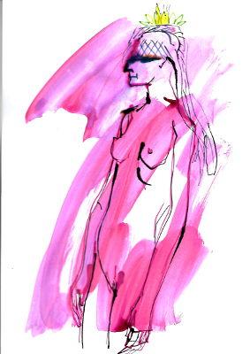 Tageszeichnung, 6. März, Frau, nackt, stehend, mit Krone und Schleier