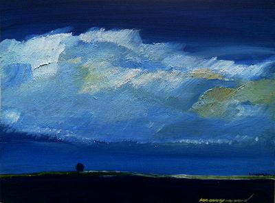 Landschaft, baum in 2 Km entfernung, blauer Himmel, weiße große wolke