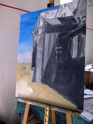 Kunstkompass Nord, Dozent: G. Marquard, Grisaille Untermalung-in Farbe ausgearbeitet  1