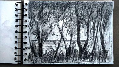 Bleistift Zeichnung, Papier, Landschaft, Am Lech, beim Kajakverein