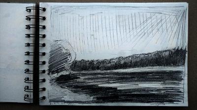Bleistift Zeichnung, Papier, Landschaft, am Lech