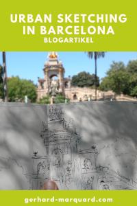 Zeichnung, Skizzenbuch, Park in Barcelona, Brunnen