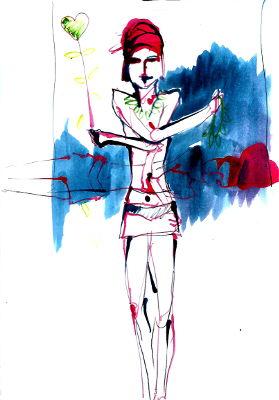 Tageszeichnung, Acrylfarbe, Bleistift, Frau, stehend, hält ein Herz wie einen Gas-Luftballon hoch