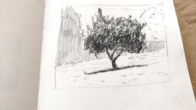 Parkvilla/Bad Heilbrun, Zeichnung, Schatten verstärkt