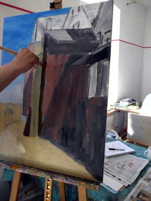 Kunstkompass Nord, Dozent: G. Marquard, Grisaille Untermalung-in Farbe ausgearbeitet  3
