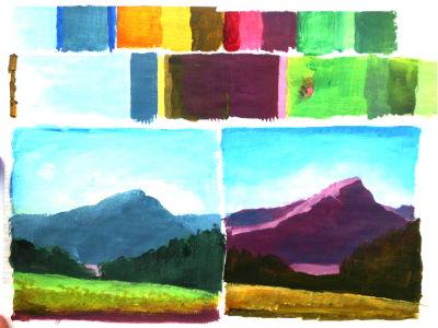 linkes Bild, Landschaft, wie sie gewöhnlich gemalt wird. Rechtes Bild, Farben nach der Farbakkordig ausgewählt