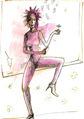Frau sitzt am Fenster. Es regnet Geld und sie hat ein 4blättriges Kleeblatt in der Hand