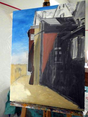 Kunstkompass Nord, Dozent: G. Marquard, Grisaille Untermalung-in Farbe ausgearbeitet  5