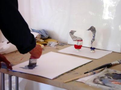Kunstkompass Nord, Malen einer Farbtube, Dozent: G. Marquard 2