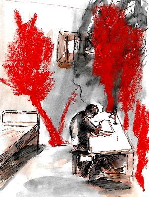 Mann im Gefängnis, schreibend, denkend, Bäume an die Wände gemalt