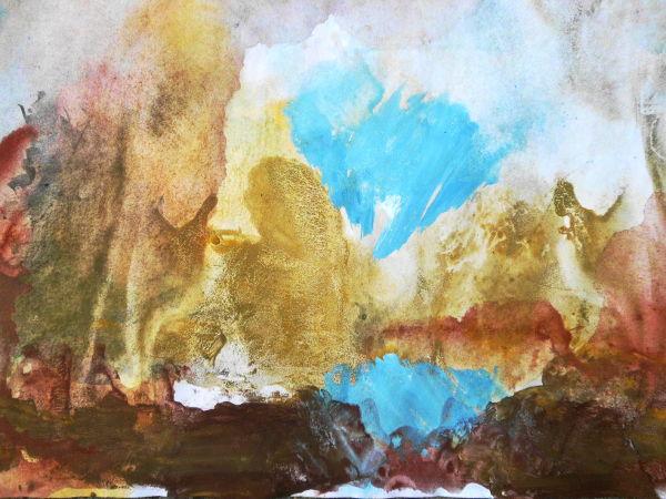 Barock abstrakt, Ocker, Blau und Rot, Erdfarben