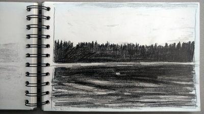 Monats-Challenge, Bleistiftzeichnung, Landschaft, am Lech bei Pitzling