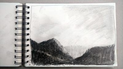 Monats-Challenge, Bleistiftzeichnung, Landschaft, Berge bei Bad Heilbrunn, richtung karwendel