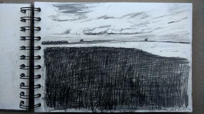 Bleistift Zeichnung, Papier, Landschaft, bei Alt-Kaufering