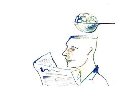 Ein Mann liest in einer Karte oder Zeitung. Das Schädeldach ist geöffnet, das Gehirn liegt in einem Nudelsieb und tropft ab.