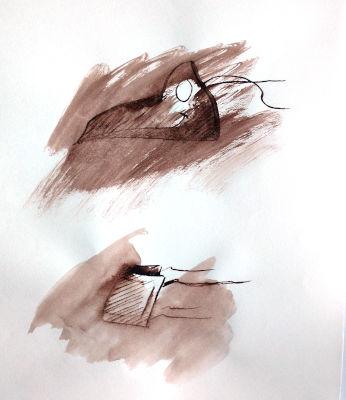 Pestmaske, medizinische Maske, Zeichnung, Rohrfeder, braune Farbe