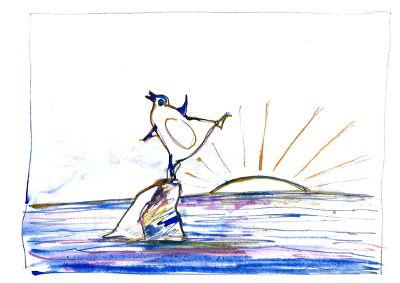 Pinguin tanzt auf einer Eisscholle af dem Meer, die Sonne geht gerade auf