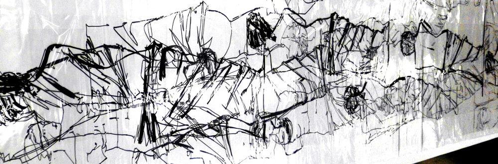 Codierte Plastikfolien-Zeichnung, Venus von Milo, 70 x 400 cm
