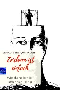 Zeichnung, Mann mit Käfig im opf