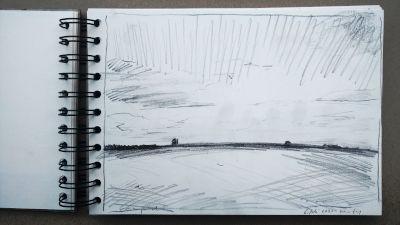 Bleistift Zeichnung, Papier, Landschaft, bei Kaufering