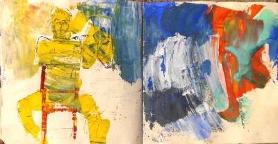 Skizzenbuchseiten, gelbe Frau sitzt auf einem roten Stuhl