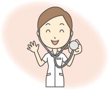 既に在宅療養をされれている方のイメージ画像 聴診器をもって微笑む看護師