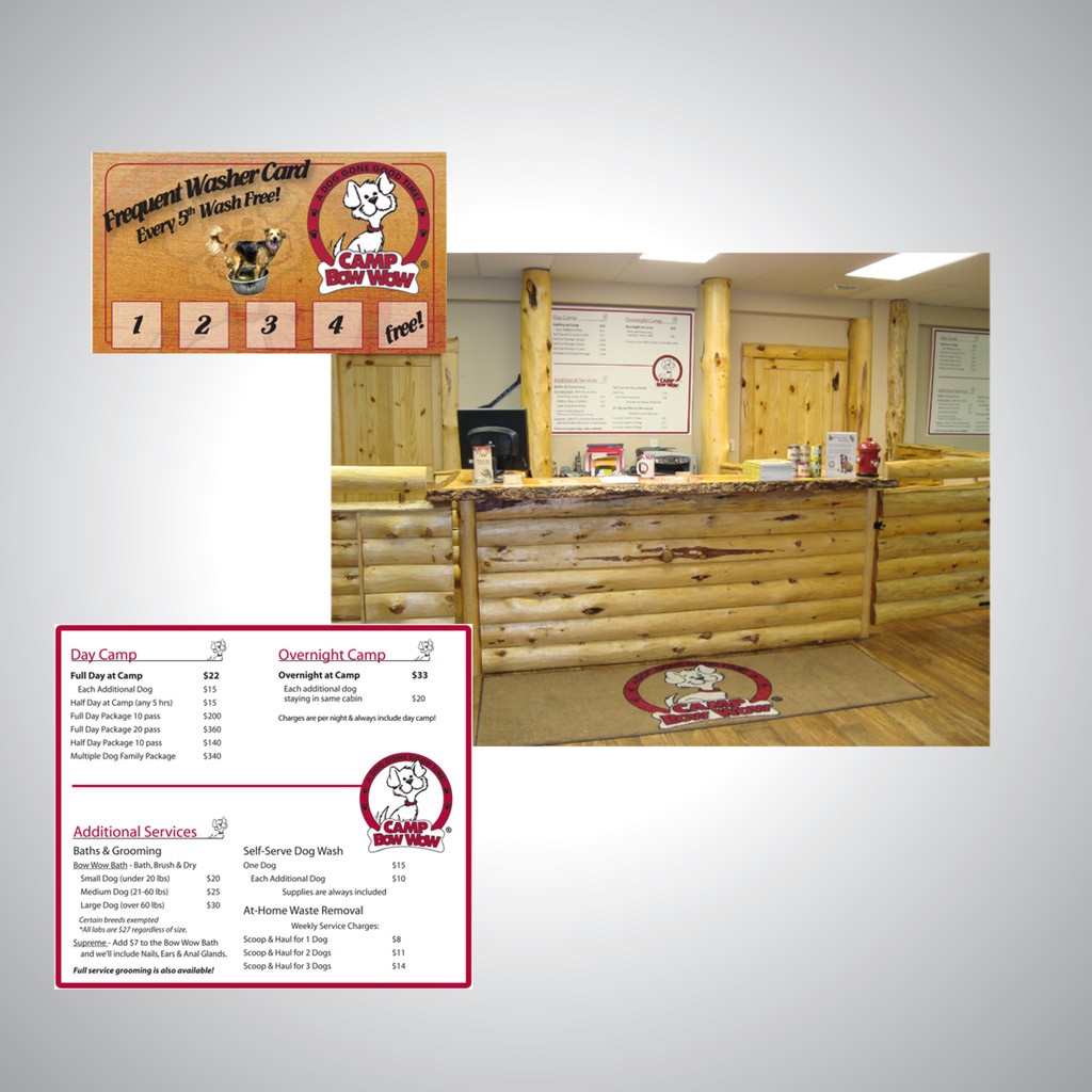 Signage and promotional work for Camp Bow Wow