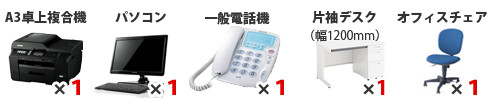 セット内容:A3卓上コピー機×1、パソコン×1、一般電話機×1、片袖デスク×1、オフィスチェア×1