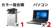 セット内容:デジタルカラー複合機×1、パソコン×2