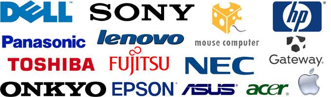 DELL,SONY,mouse computer,hp,NEC,lenovo,Gateway,TOSHIBA,FUJITSU,EPSON,ONKYO,ASUS,acer,apple