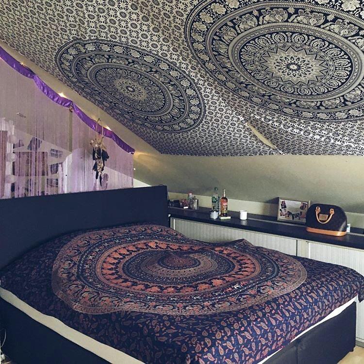 Elefanten Mandala Wandtücher in schwarz weiß