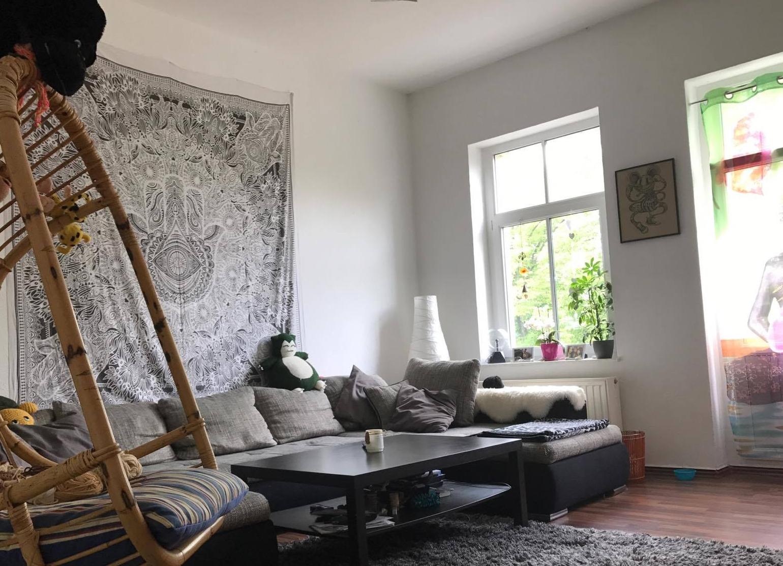 Wandtuch Variante weiß grau im Wohnzimmer