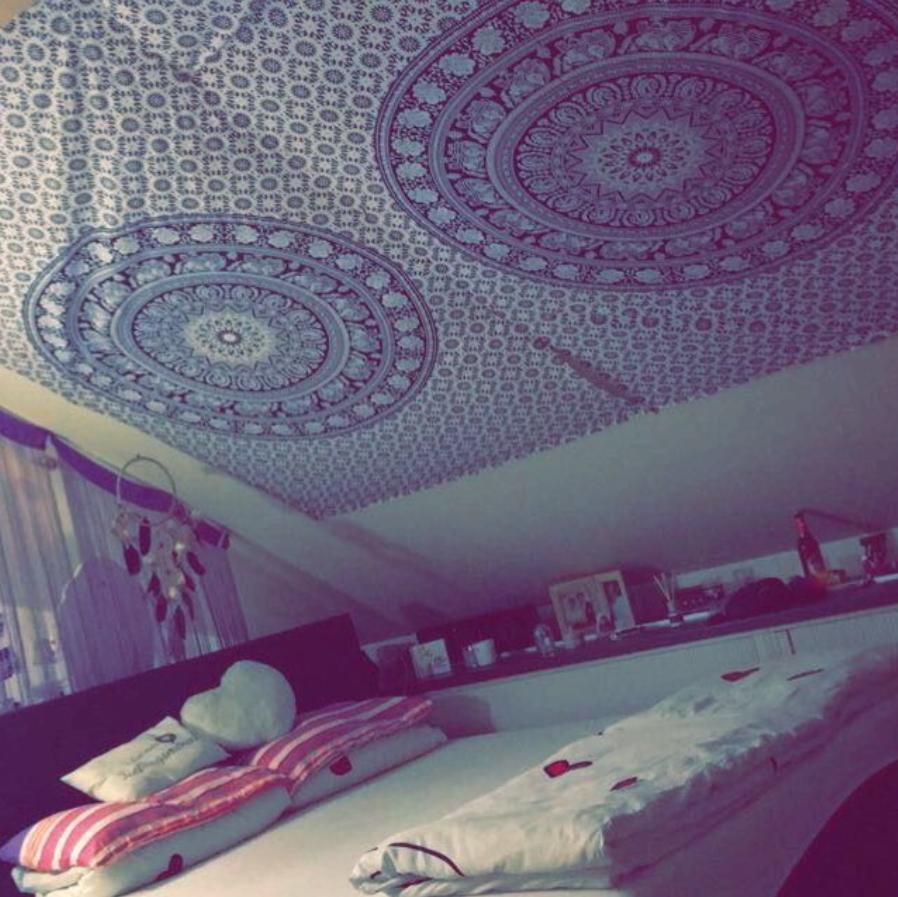 Mandala Wandtücher mit Elefanten schwarz weiß