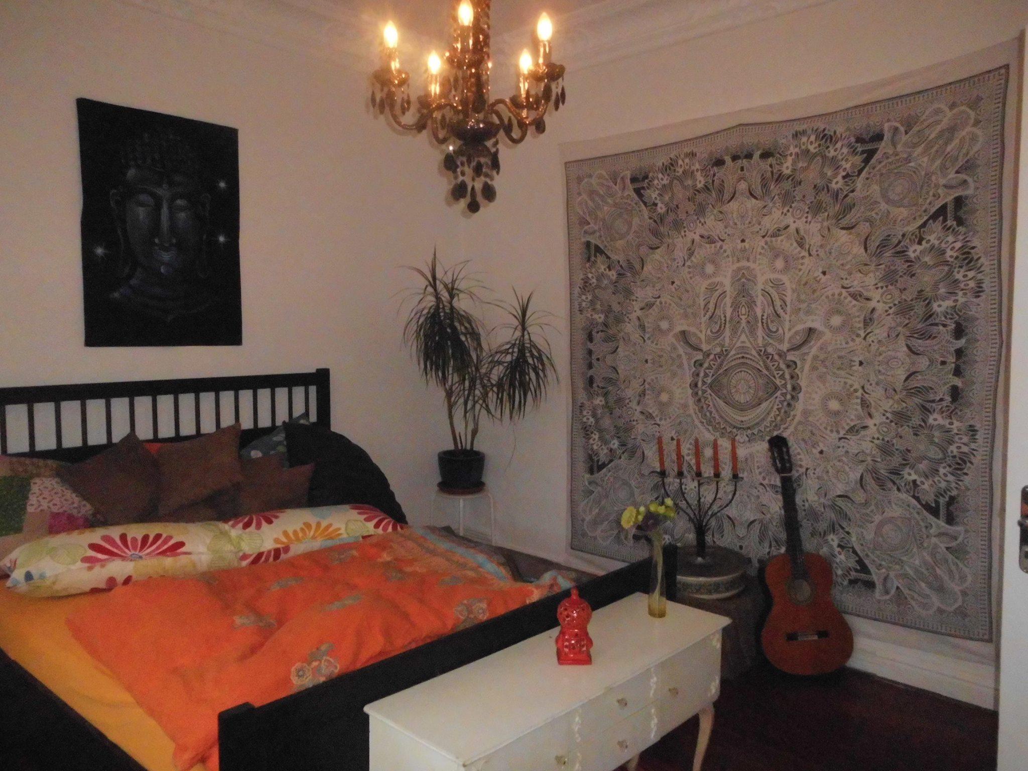 Wandtuch Variante weiß grau im Schlafzimmer
