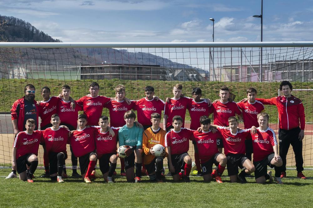 Mannschaftsfoto Junioren C, mit Sponsor Hallenbad Sissilia, Sisseln/AG Saison 2021