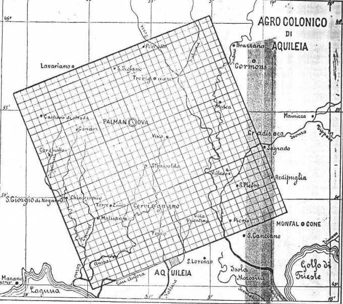 Fig. 6 - Rappresentazione grafica dell'Agro colonico di Aquileia tratta da Drucker e Tedeschi Del castro romano, Verona 1887 - Studio dell'Ing. Grablovitz