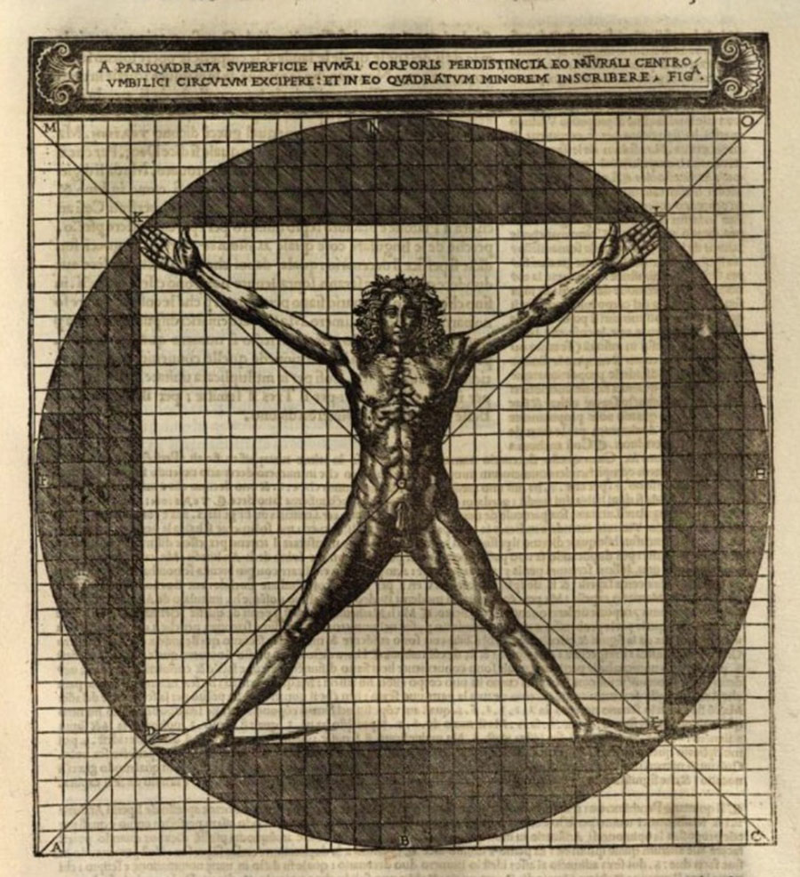 """Rappresentazione dell'Homo vitruviano  """"homo bene figuratus"""", trattata da Cesare Cesariano De architectura 1521 volume a stampa, Milano"""