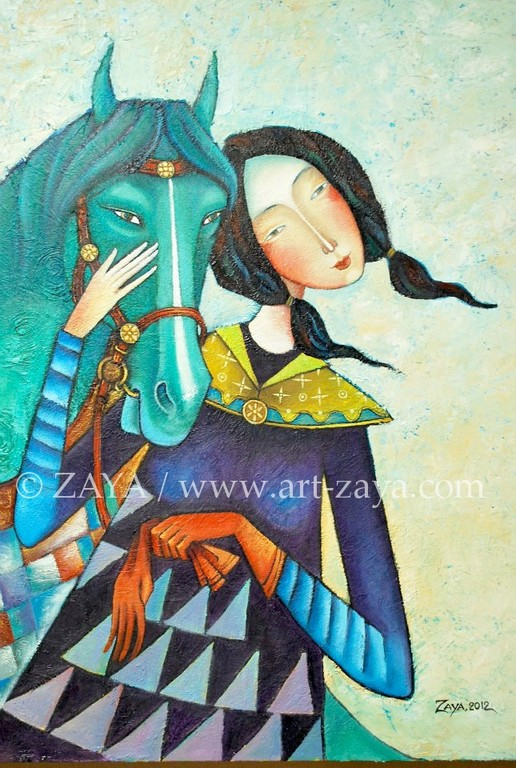 Girl with Green Horse(*) 2012 (related to nature protection) / copyright ZAYA www.art-zaya.com