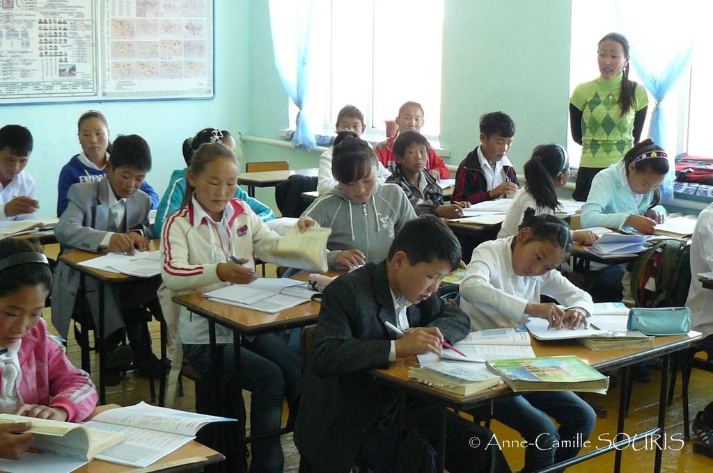 Classe d'anglais de Mlle Gantugs, Khatanbulag sum / © Anne-Camille SOURIS